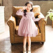 女童连cj裙2020lw式韩款中大宝宝时髦网红长袖纯棉公主裙子潮
