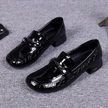 欧洲站ck021春秋sw鞋漆皮平底圆头一脚蹬粗跟单鞋乐福鞋女