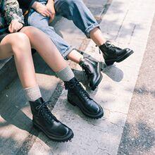 柒步森ck真牛皮马丁em020春秋新式厚底英伦风单短靴(小)个子增高