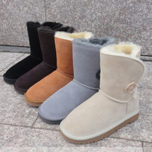 包邮5cl03 58sh毛中筒靴低筒靴真皮厚毛雪地靴牛筋底女靴有34码