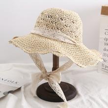 韩款icls(小)清新百kt女夏绑带蝴蝶结度假沙滩帽大沿折叠遮阳帽