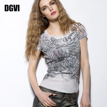 DGVcl印花短袖Tff2021夏季新式潮流欧美风网纱弹力修身上衣薄