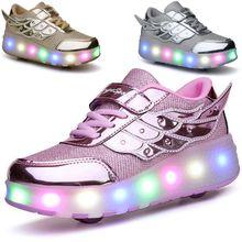 暴走鞋双轮滑轮cl儿童鞋子学wn鞋女童男童运动鞋旱冰鞋溜冰鞋