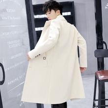 韩款潮cl帅气修身春bb衣男中长式毛呢大衣男士过膝呢子外套褂