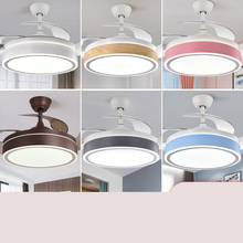 隐形风cl灯餐厅客厅rt代简约吊扇灯北欧静音一体家用吊扇灯