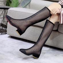 时尚潮cl纱透气凉靴st4厘米方头后拉链黑色女鞋子高筒靴短筒