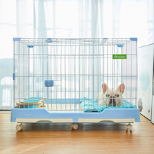 狗笼中(小)cn犬室内带厕cw法斗防垫脚(小)宠物犬猫笼隔离围栏狗笼
