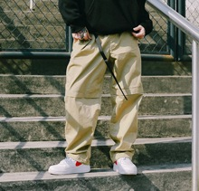 US联cn街牌弹力宽ks节裤脚工装裤BBOY练舞纯色滑板休闲裤