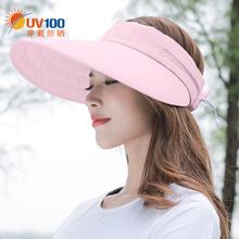UV1cn0沙滩防晒in夏女士出游太阳遮阳帽防紫外线空顶帽子12049