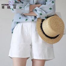 孕妇短cn夏季时尚式in腿短裤孕妇夏装打底短裤夏外穿棉麻潮妈