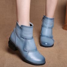 201cn新式民族风kw皮靴中跟粗跟圆头短筒牛皮手工单靴短靴女鞋