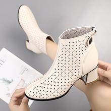 镂空短co马丁靴女春in2021新式夏季靴子女粗跟真皮洞洞靴凉靴