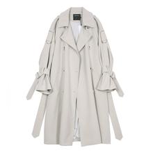 VEGco CHANov女中长式2021新式韩款春季BF风宽松过膝休闲薄外套