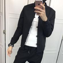 快手网co同式新式春ov身夹克社会纯色百搭立领纯色单外套唐装
