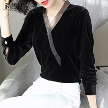 海青蓝co020秋装ov装时尚潮流气质打底衫百搭设计感金丝绒上衣