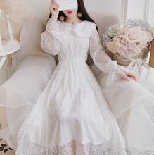 连衣裙co020秋冬ov国chic娃娃领花边温柔超仙女白色蕾丝长裙子