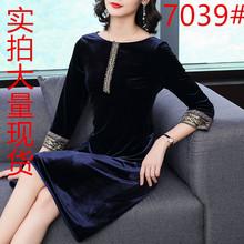 [codeb]中老年金丝绒复古旗袍连衣