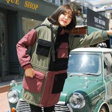 直筒减co0中长式宽sa服女韩款冬装保暖外套工装拼接拼色连帽