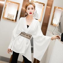 复古雪co衬衫(小)众轻ds2021年新式女韩款V领长袖白色衬衣上衣