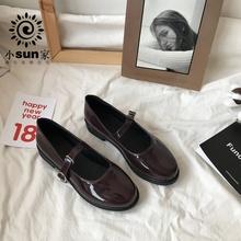 韩国ulzzang漆皮小皮鞋复古