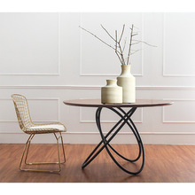 美式铁co实木茶桌 ds用圆形桌子奶茶店户外休闲桌椅A01