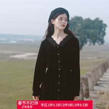 蜜搭 丝绒秋冬co仙初恋山本ds款复古赫本风心机(小)黑裙