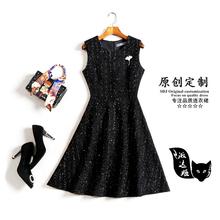 秋冬名媛(小)香风马甲无袖连衣裙2co1220毛st裙修身显瘦(小)黑裙