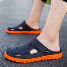 越南天然橡胶男凉鞋超co7软运动拖le侣洞洞鞋旅游乳胶沙滩鞋