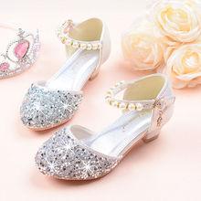 女童凉鞋高跟2018夏季co9钻蝴蝶结li表演水晶单鞋银色新款潮