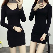 黑色中co式打底衫春li式女式长袖t恤女大码内搭修身包臀上衣