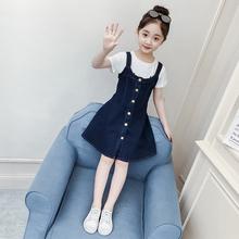 6女童co季连衣裙2ri新式8韩款洋气牛仔背带裙12(小)女孩13岁潮衣服