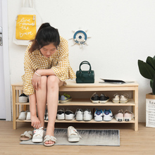 北欧实co超窄可坐式ri订做家用松木穿鞋凳进出门换鞋柜
