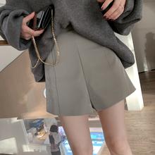 彬geco表姐高腰短ri020年冬季新式韩款高腰显瘦pu皮短裤女装潮