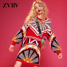 zvbco新年红色毛ot中长式2020新式针织连衣裙潮(小)个子内搭