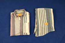 日单复古文艺民族风棉麻混纺色co11条纹宽ot子滑板潮牌衬衫