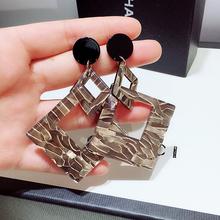 韩国2co20年新式pu夸张纹路几何原创设计潮流时尚耳环耳饰女