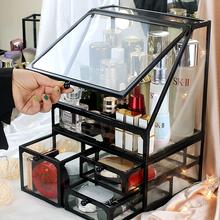 北欧icos简约储物pu护肤品收纳盒桌面口红化妆品梳妆台置物架