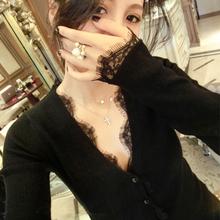 秋冬新式欧美风黑色v领长袖针co11衫毛衣pu开衫蕾丝打底衫