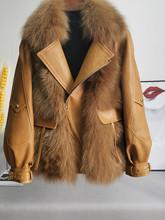 欧洲站co020冬季pu羊皮衣拼接狐狸毛短式皮草外套大衣女潮