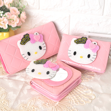 镜子卡coKT猫零钱pu2020新式动漫可爱学生宝宝青年长短式皮夹