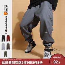 BJHco自制冬加绒pu闲卫裤子男韩款潮流保暖运动宽松工装束脚裤
