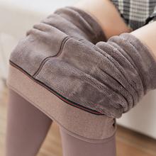 冬季加co加厚奶咖啡pu裤女灰色保暖显瘦连裤袜连脚连体美腿袜
