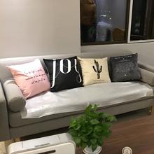 样板房co计几何黑白pu枕孕妇靠腰靠枕套简约现代北欧客厅靠垫