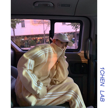 1CHcoN /秋装ia黄 珊瑚绒纯色复古休闲宽松运动服套装外套男女