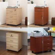 桌下三co屉(小)柜办公ia资料木质矮柜移动(小)活动柜子带锁桌柜
