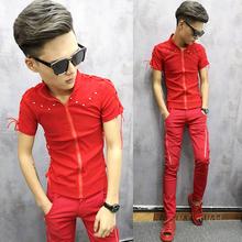 潮男个co拉链开衫衣or韩款非主流短袖衬衣红色发型师衬衫S码