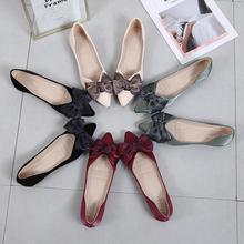 春式尖co平底鞋20st式蝴蝶结单鞋酒红色内增高百搭淑女豆豆鞋女