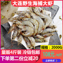 大连野co海捕大虾对st活虾青虾明虾大海虾海鲜水产包邮