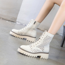 [const]真皮中跟马丁靴镂空短靴女