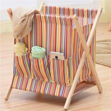 布艺折co实木放脏衣st用简约脏衣篓洗衣篮玩具箱子零食收纳筐
